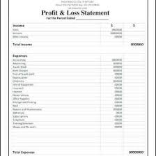 Profit And Loss Template For Self Employed P L Statement Excel Free Profit And 343234700068 Free Profit And