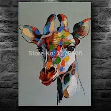 handmade abstract cute baby giraffe art oil painting on canvas for living room decor hang group of paintings