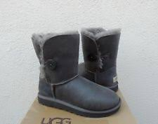 UGG GREY BOMBER JACKET BAILEY BUTTON SUEDE  SHEEPSKIN BOOTS, US 7  EUR 38