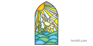 dove stained glass window church