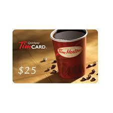 25 tim hortons gift card