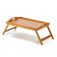 Amazon.com: Compact Bamboo Wood Bed Breakfast Food Serving Tray: Home &  Kitchen