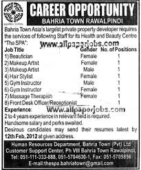 bahria town jobs beautician makeup artists stylist gym instructor front desk