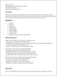 Resume Templates: Financial Service Representative