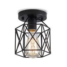 Rustic Flush Mount Ceiling Lights 2019 Retro Vintage Industrial Rustic Flush Mount Ceiling Light Metal Cage Lamp Shade E26 E27 Pendant Light For Hallway Bedroom From Flymall 15 55