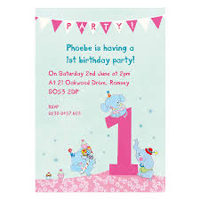 personalised first birthday party invitations elephants design