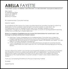 It Consultant Cover Letters Implementation Consultant Cover Letter Sample Cover Letter