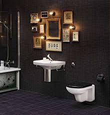 black bathroom. Bathroom : Artistic Black Bedroom Decor With Laminated Wall And Rectangle Brown Wood Frame Photo Modern White Cermaic Floating Vanity Sink A