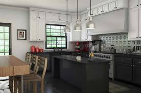 Family Kitchen With Black Cabinets