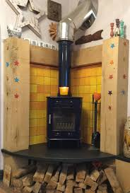 Tiled Hearth Designs For Wood Stoves Dark Blue Corner Wood Burner With Ceramic Tiles In Shades Of