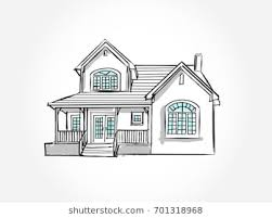 architecture drawing. Sketch Of House Architecture .Drawing Free Hand Vector Illustration.outline  Sketch Drawing Perspective