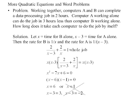 more quadratic equations and word problems