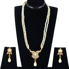 spargz round design pearl necklace set studded with ad stone ains 117