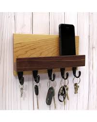 Mail and key holder for wall, wood key rack, entryway organizer, mail shelf