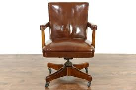 leather swivel office chair. midcentury modern 1960 vintage leather swivel adjustable desk chair office