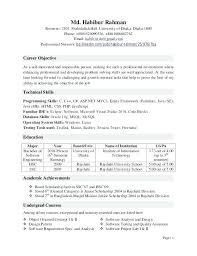 Sample Resume For Software Testing Freshers Resume Format For