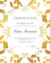 Certificate Template Gold Border Editable Design For Diploma