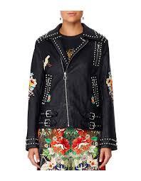 women s jackets winter jackets designer jackets david jones midnight moonchild studded biker jacket