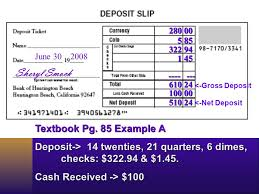 deposit slip examples prepare a deposit slip record entries in a check register ppt