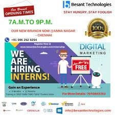 Seo Interns Digital Marketing Intern Besanttechnologies We Are