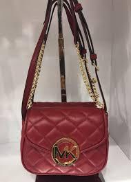 Michael Kors Fulton Quilt Small Flap Crossbody Bag Cherry Red | eBay & MICHAEL MICHAEL KORS Fulton Cherry Quilted Leather Crossbody Bag Adamdwight.com