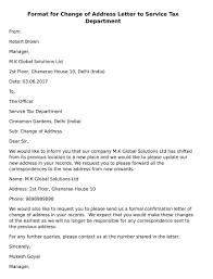 Format For Change Of Address Letter To Service Tax Department Ca Club