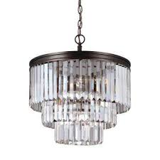 carondelet 4 light burnt sienna chandelier with clear beveled glass shade