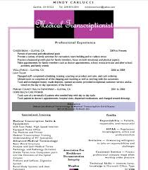 Medical Transcription Resume Examples Examples Of Resumes