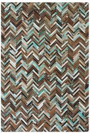 amasya parquet cowhide rug brown beige and turquoise image 9