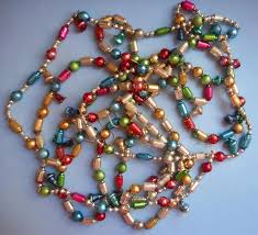 vintage glass bead garland tree 184 inch bells to expand