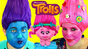 trolls makeup makeover tutorial costume dress up for poppy branch you