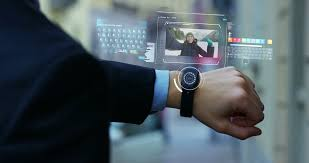 Futuristic Clock A Man Answers The Wife Who Smiles And Waves From The Phone That