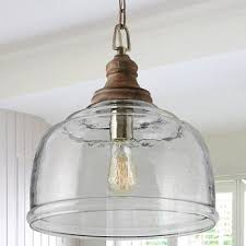 wood and glass bell pendant glass