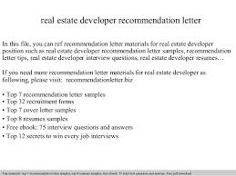Real Estate Developer Recommendation Letter