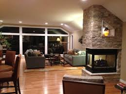three sided fireplace transitional living room detroit by
