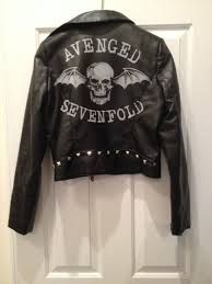 avenged sevenfold bravado faux leather jacket a7x new with tag rare bat on the hunt