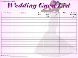 Printable Wedding Guest List Organizer Wedding Guest List Template Printable On Wedding Event