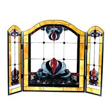 glass fireplace screen. Stained Glass Fireplace Place Dragonfly Screen H