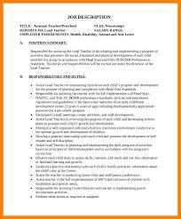 Job Description Of A Teacher Preschool Teacher Assistant Job