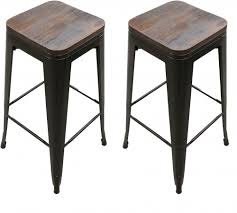 metal bar stools with wood seat. Set Of 2 Stamped Metal Bar Stools W/ Wood Seat 30\ With I