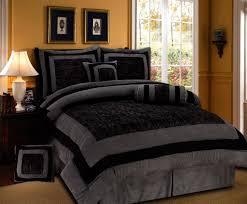 Amazon.com: 7 Pieces Black and Grey Micro Suede Comforter Set Bed ...