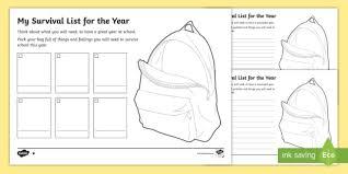 Back To School Survival List Worksheet Activity Sheet Australia