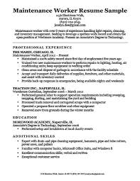 Additional Skills On A Resumes Maintenance Worker Resume Sample Resume Companion
