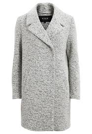 vila classic coat light grey melange women clothing coats vila jackets factory vila stretch leather look