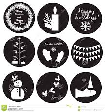 Black White Christmas Labels Stock Vector Illustration Of Candle