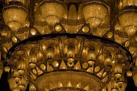 close up of the enormous chandelier with swarovski crystals sultan qaboos grand mosque