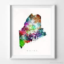 Each print features an original design consisting of a maine state silhouette and flag graphic superimposed over a page from the maine entry in the 1904 Maine Watercolor Map Wall Art Home Decor Poster Artwork Gift Print Unframed Ebay