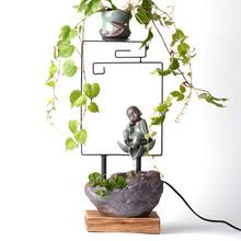 feng shui plant office. 110/220V Ceramic Lovely Small Monk Plant Vase Kit Home Decoration Feng Shui Water Fountain Office I