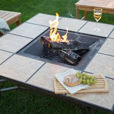 outdoor square tile convertible fire pit table with free cover hayneedle