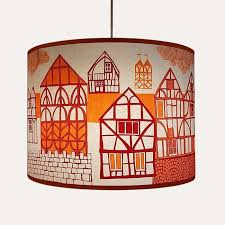 tudor village lampshade orange plum